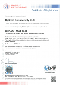OHSAS ISO 18001:2007 certificate from Gabriel Registrar