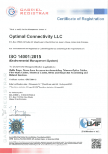 ISO 14001:2015 certificate from Gabriel Registrar