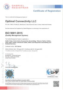 ISO 9001:2015 certificate from Gabriel Registrar